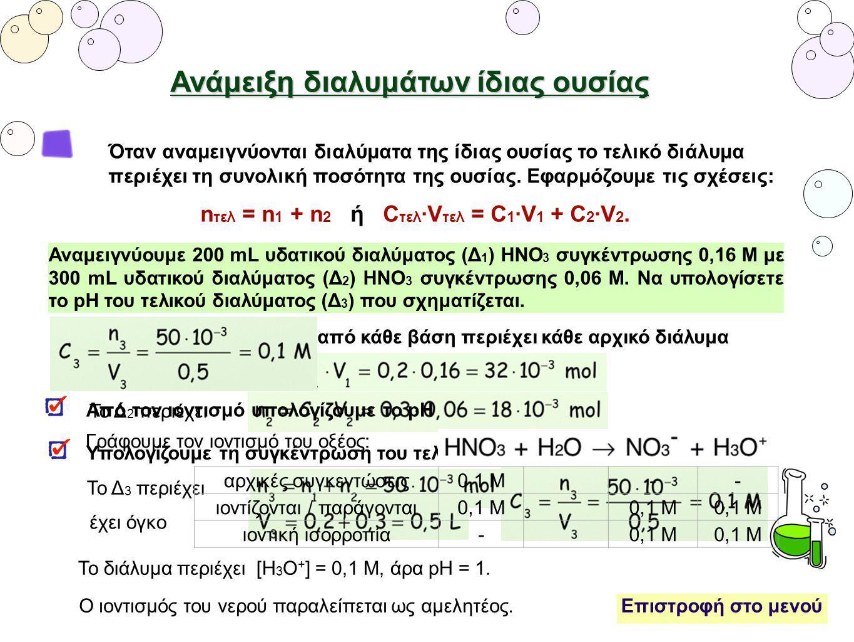 Ανάμειξη διαλυμάτων ίδιας ουσίας Όταν αναμειγνύονται διαλύματα της ίδιας ουσίας το τελικό διάλυμα περιέχει τη συνολική ποσότητα της ουσίας. Εφαρμόζουμ