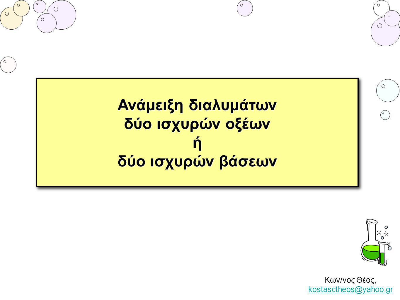 Κων/νος Θέος, kostasctheos@yahoo.gr kostasctheos@yahoo.gr Ανάμειξη διαλυμάτων δύο ισχυρών οξέων ή δύο ισχυρών βάσεων Ανάμειξη διαλυμάτων δύο ισχυρών ο