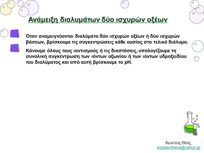 Κων/νος Θέος, kostasctheos@yahoo.gr kostasctheos@yahoo.gr Όταν αναμειγνύονται διαλύματα δύο ισχυρών οξέων ή δύο ισχυρών βάσεων, βρίσκουμε τις συγκεντρ