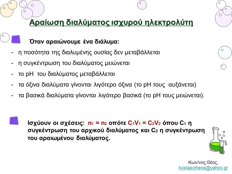Κων/νος Θέος, kostasctheos@yahoo.gr kostasctheos@yahoo.gr Αραίωση διαλύματος ισχυρού ηλεκτρολύτη Όταν αραιώνουμε ένα διάλυμα: - η ποσότητα της διαλυμέ