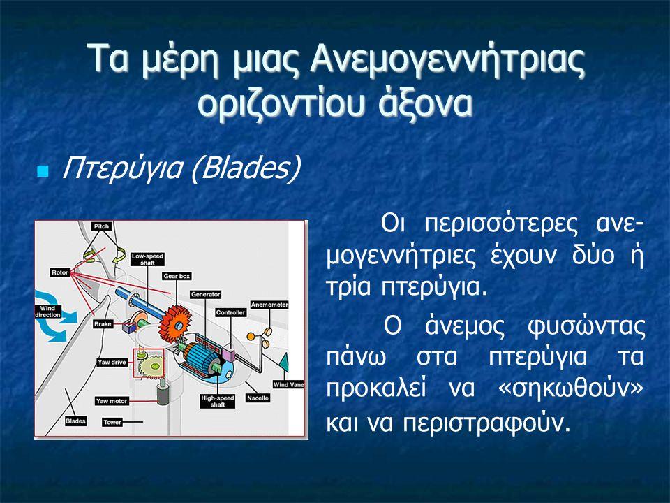 Τα μέρη μιας Ανεμογεννήτριας οριζοντίου άξονα Φρένο (Brake) Ένας δίσκος φρένου, ο οποίος μπορεί να εφαρμοστεί κατά τρόπο μηχανικό, ηλεκτρικό ή υδραυλικό, ώστε να σταματά ο ρότορας (ηλεκτρικός κινητήρας) σε περιπτώσεις επείγουσας ανάγκης.