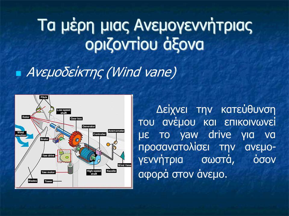 Τα μέρη μιας Ανεμογεννήτριας οριζοντίου άξονα Οδηγός παροιακίσματος (παρατιμονιάς) [ατρακτιδίου] (Yaw drive) Οι ανεμογεννήτριες που λειτουργούν με πνοή ανέμου προς τα πάνω, upwind« (ανάντι), είναι στραμμένες προς τον άνεμο.