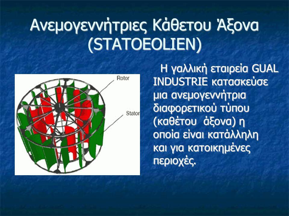 Ανεμογεννήτριες Κάθετου Άξονα (STATOEOLIEN) Η συμμετρία της ανεμογεννήτριας καθέτου άξονα, της παρέχει τη δυνατότητα να είναι ανεξάρτητη από τη κατεύθυνση του ανέμου, γεγονός που συντελεί στην χρήση της σε οικιστικές περιοχές όπου οι αλλαγές στην διεύθυνση του ανέμου είναι συχνές.