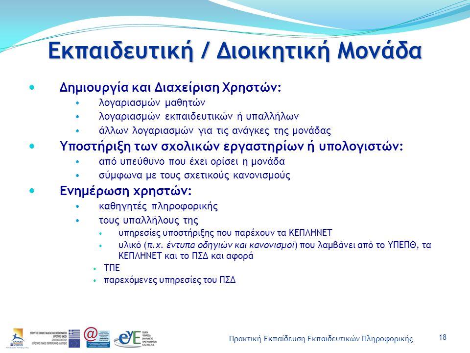 Πρακτική Εκπαίδευση Εκπαιδευτικών Πληροφορικής Εκπαιδευτική / Διοικητική Μονάδα Δημιουργία και Διαχείριση Χρηστών: λογαριασμών μαθητών λογαριασμών εκπαιδευτικών ή υπαλλήλων άλλων λογαριασμών για τις ανάγκες της μονάδας Υποστήριξη των σχολικών εργαστηρίων ή υπολογιστών: από υπεύθυνο που έχει ορίσει η μονάδα σύμφωνα με τους σχετικούς κανονισμούς Ενημέρωση χρηστών: καθηγητές πληροφορικής τους υπαλλήλους της υπηρεσίες υποστήριξης που παρέχουν τα ΚΕΠΛΗΝΕΤ υλικό (π.χ.