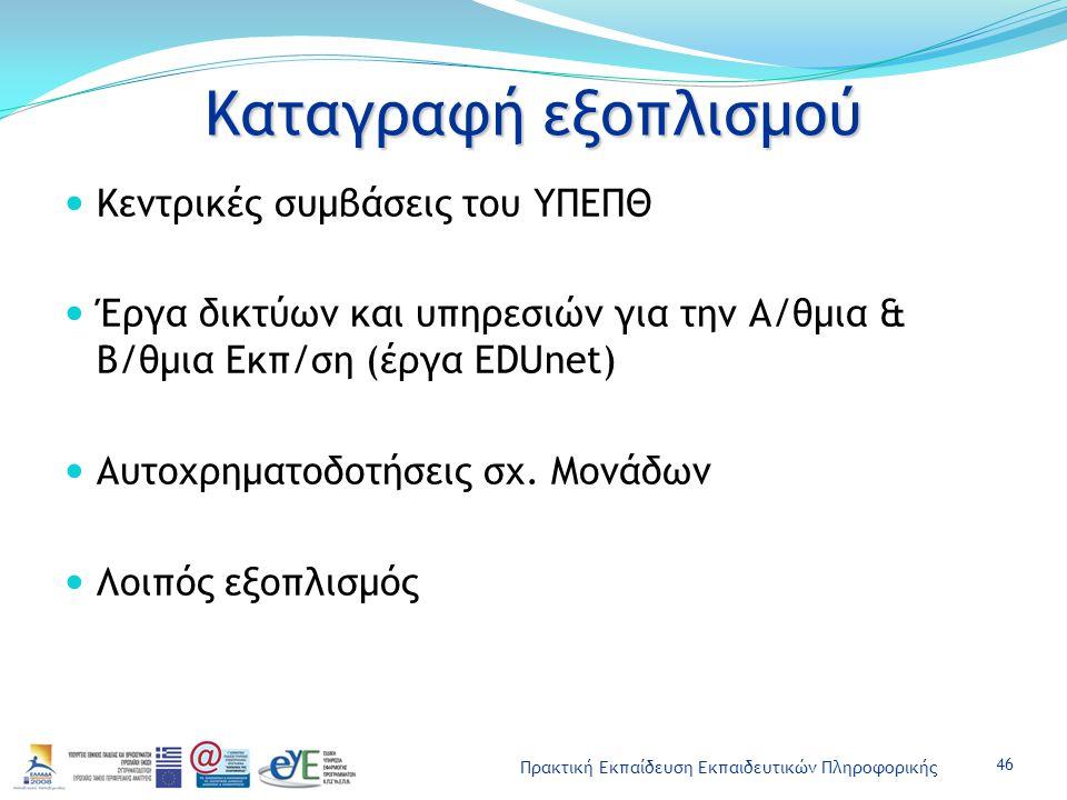 Πρακτική Εκπαίδευση Εκπαιδευτικών Πληροφορικής Καταγραφή εξοπλισμού Κεντρικές συμβάσεις του ΥΠΕΠΘ Έργα δικτύων και υπηρεσιών για την Α/θμια & Β/θμια Εκπ/ση (έργα EDUnet) Αυτοχρηματοδοτήσεις σχ.