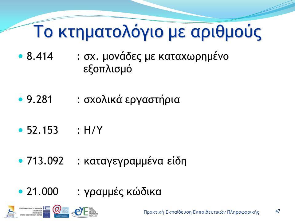 Πρακτική Εκπαίδευση Εκπαιδευτικών Πληροφορικής Το κτηματολόγιο με αριθμούς 8.414: σχ. μονάδες με καταχωρημένο εξοπλισμό 9.281: σχολικά εργαστήρια 52.1
