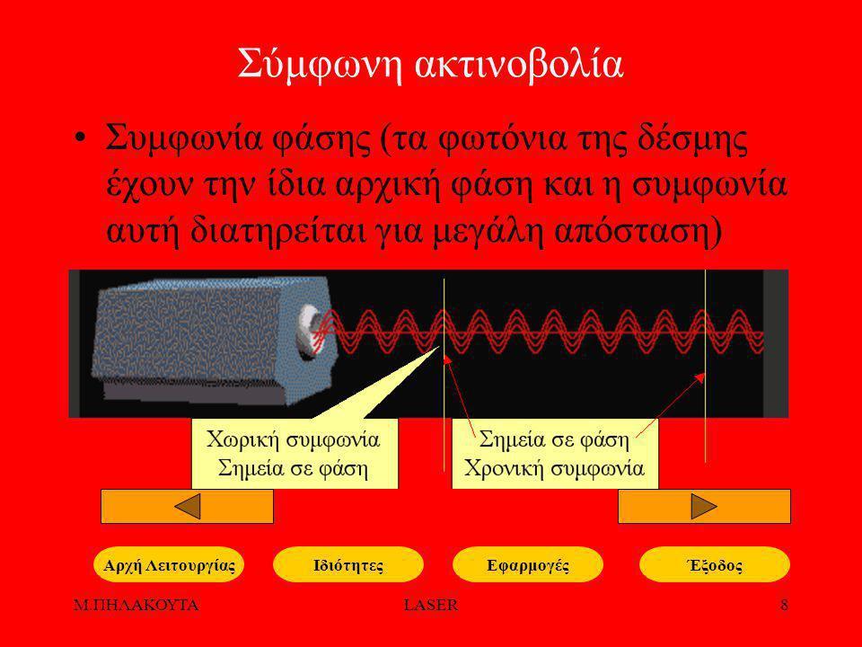 Μ.ΠΗΛΑΚΟΥΤΑLASER9 Υψηλή Κατευθυντικότητα Κατευθυντικότητα (τα φωτόνια της δέσμης έχουν όλα την ίδια κατεύθυνση, με αποτέλεσμα η δέσμη να έχει πολύ λεπτή διατομή και πολύ μικρή απόκλιση) ΙδιότητεςΕφαρμογέςΑρχή Λειτουργίας http://psgmech.wordpress.com /2008/08/16/laser/ Έξοδος