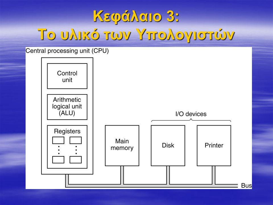 Κεντρική Μνήμη Μνήμη Τυχαίας Προσπέλασης (RAM) Μνήμη Μόνο για Ανάγνωση (ROM) Λειτουργία Η/Υ Μονάδες Εξόδου Μονάδες Εισόδου Επεξεργαστής (Κεντρική Μονάδα Επεξεργασίας)