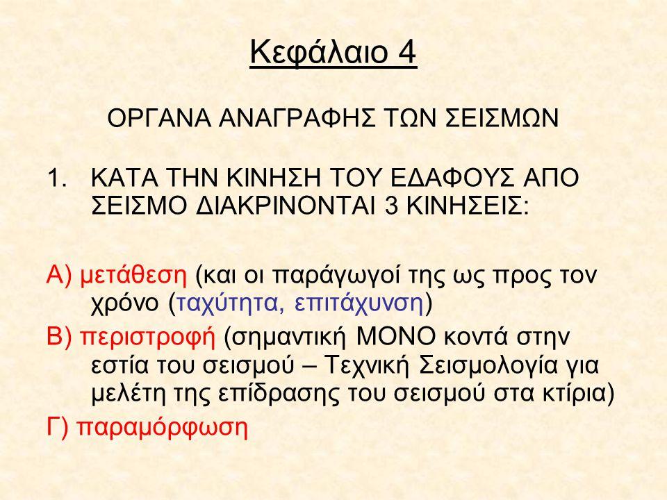 Κεφάλαιο 4 ΟΡΓΑΝΑ ΑΝΑΓΡΑΦΗΣ ΤΩΝ ΣΕΙΣΜΩΝ 1.ΚΑΤΑ ΤΗΝ ΚΙΝΗΣΗ ΤΟΥ ΕΔΑΦΟΥΣ ΑΠΟ ΣΕΙΣΜΟ ΔΙΑΚΡΙΝΟΝΤΑΙ 3 ΚΙΝΗΣΕΙΣ: Α) μετάθεση (και οι παράγωγοί της ως προς το