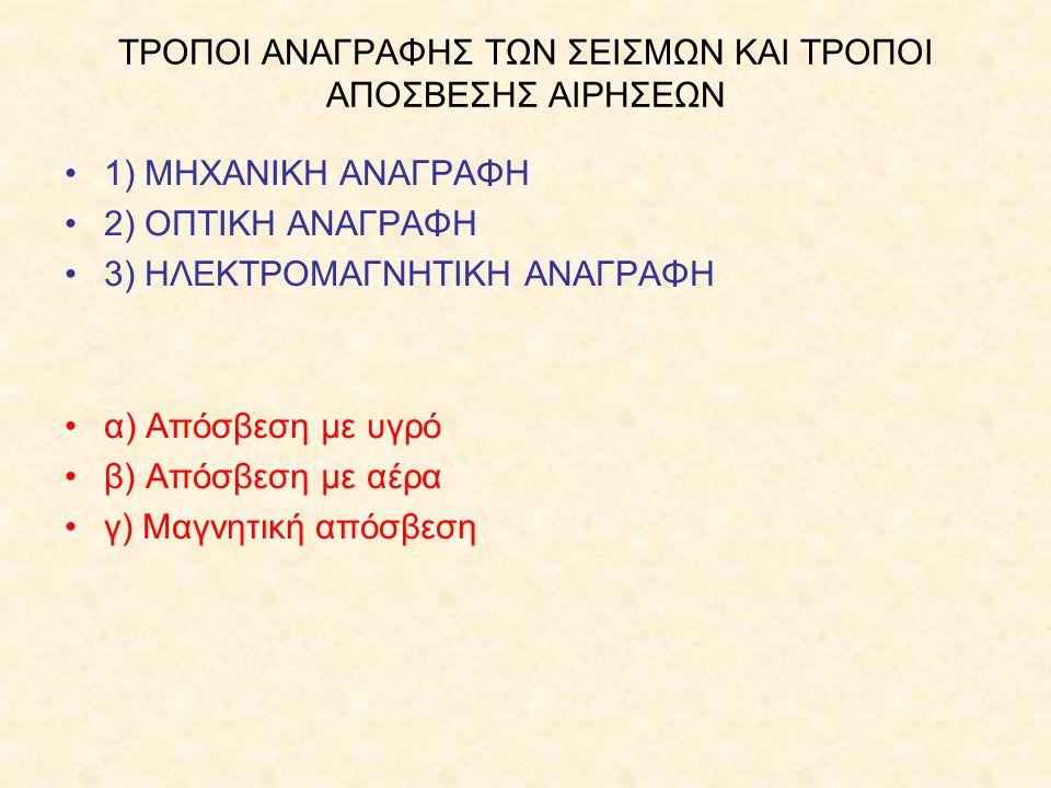 ΤΡΟΠΟΙ ΑΝΑΓΡΑΦΗΣ ΤΩΝ ΣΕΙΣΜΩΝ ΚΑΙ ΤΡΟΠΟΙ ΑΠΟΣΒΕΣΗΣ ΑΙΡΗΣΕΩΝ 1) ΜΗΧΑΝΙΚΗ ΑΝΑΓΡΑΦΗ 2) ΟΠΤΙΚΗ ΑΝΑΓΡΑΦΗ 3) ΗΛΕΚΤΡΟΜΑΓΝΗΤΙΚΗ ΑΝΑΓΡΑΦΗ α) Απόσβεση με υγρό β)