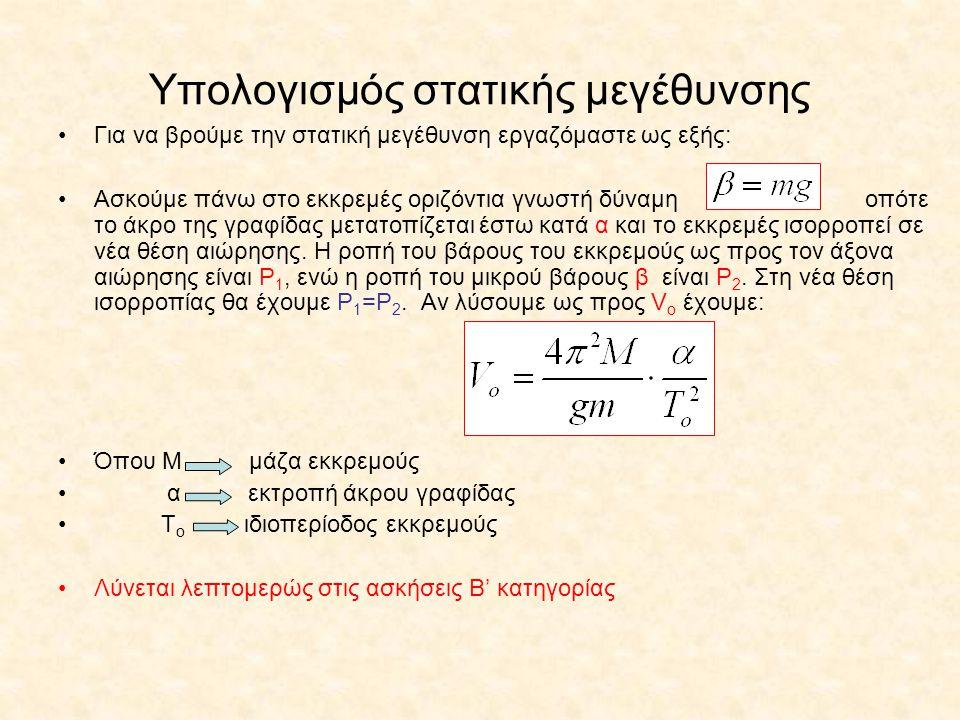 Υπολογισμός στατικής μεγέθυνσης Για να βρούμε την στατική μεγέθυνση εργαζόμαστε ως εξής: Ασκούμε πάνω στο εκκρεμές οριζόντια γνωστή δύναμη οπότε το άκ