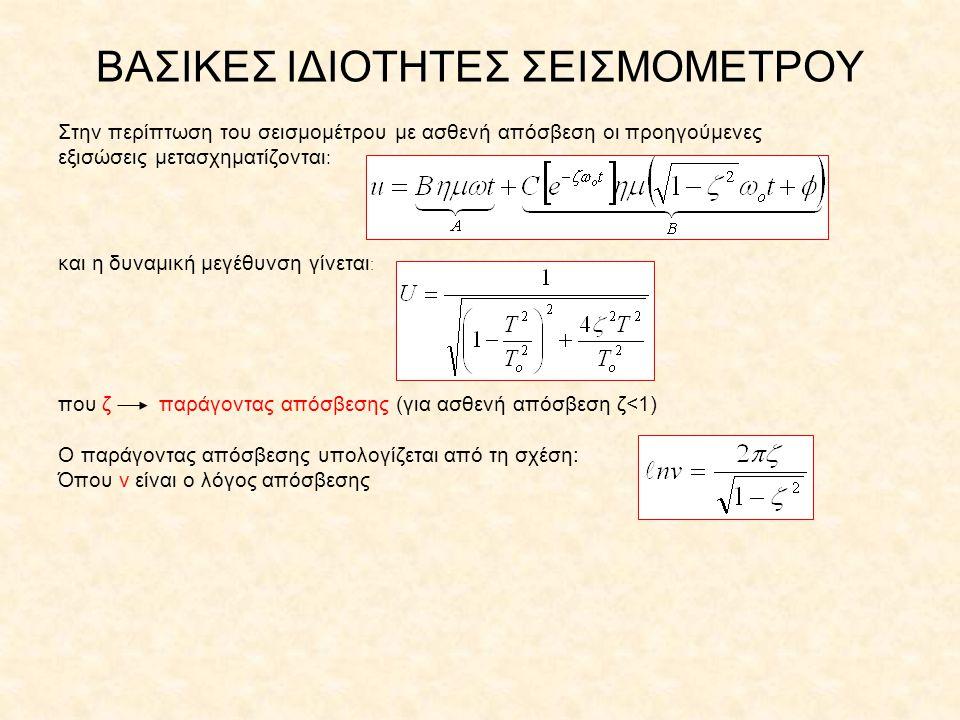 ΒΑΣΙΚΕΣ ΙΔΙΟΤΗΤΕΣ ΣΕΙΣΜΟΜΕΤΡΟΥ Στην περίπτωση του σεισμομέτρου με ασθενή απόσβεση οι προηγούμενες εξισώσεις μετασχηματίζονται : και η δυναμική μεγέθυν