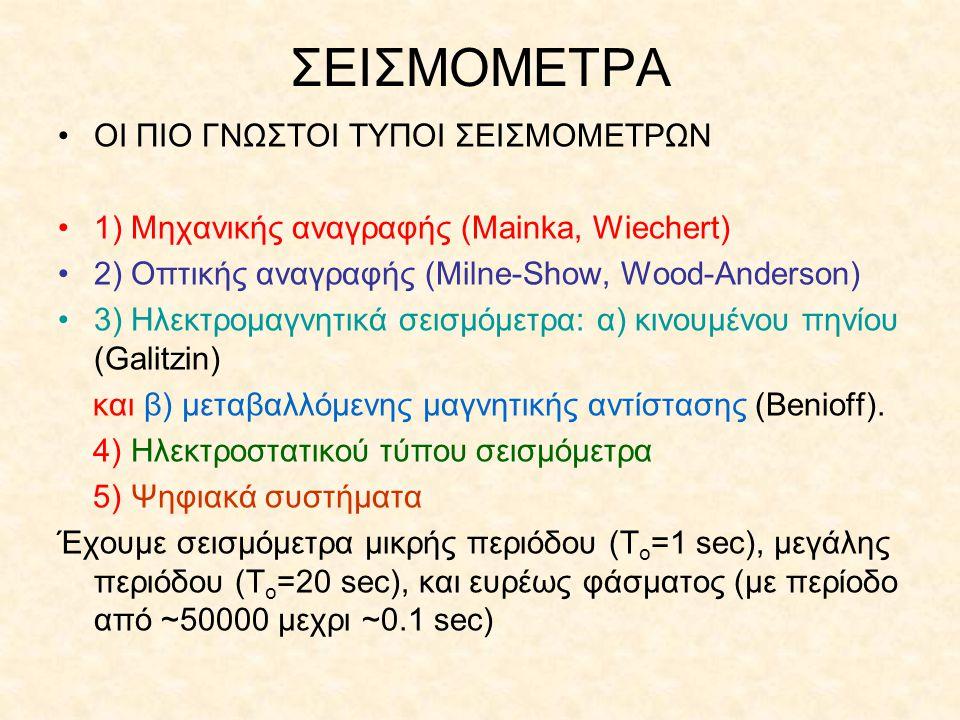 ΣΕΙΣΜΟΜΕΤΡΑ ΟΙ ΠΙΟ ΓΝΩΣΤΟΙ ΤΥΠΟΙ ΣΕΙΣΜΟΜΕΤΡΩΝ 1) Μηχανικής αναγραφής (Mainka, Wiechert) 2) Οπτικής αναγραφής (Milne-Show, Wood-Anderson) 3) Ηλεκτρομαγ
