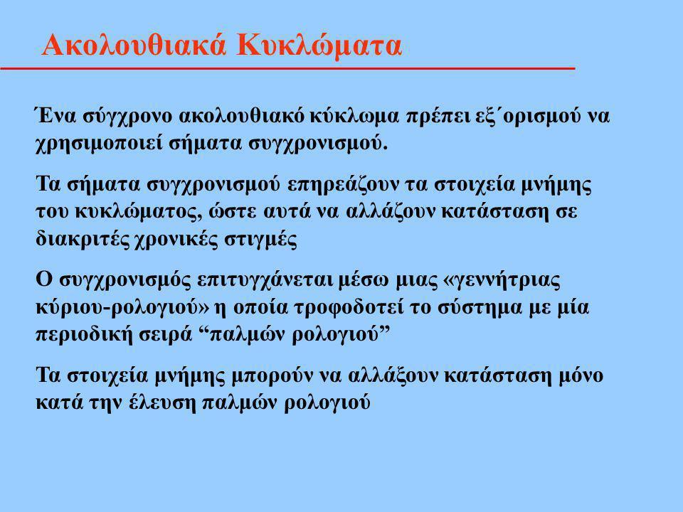 JK - Flip Flop.. Χαρακτηριστικός Πίνακας 2 J Q K Q' JK Q t+1 00QtQt 010 101 11 Q t ' Clk