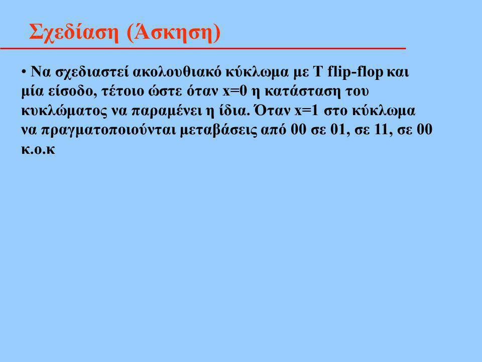 Σχεδίαση (Άσκηση) Να σχεδιαστεί ακολουθιακό κύκλωμα με T flip-flop και μία είσοδο, τέτοιο ώστε όταν x=0 η κατάσταση του κυκλώματος να παραμένει η ίδια