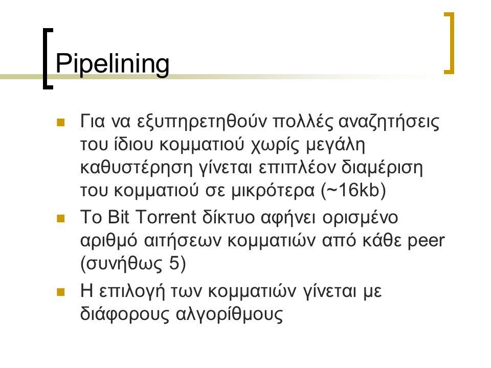 Pipelining Για να εξυπηρετηθούν πολλές αναζητήσεις του ίδιου κομματιού χωρίς μεγάλη καθυστέρηση γίνεται επιπλέον διαμέριση του κομματιού σε μικρότερα