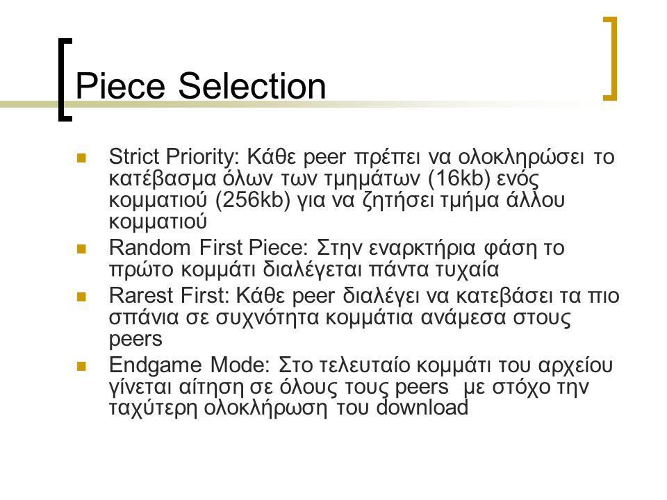 Piece Selection Strict Priority: Κάθε peer πρέπει να ολοκληρώσει το κατέβασμα όλων των τμημάτων (16kb) ενός κομματιού (256kb) για να ζητήσει τμήμα άλλ