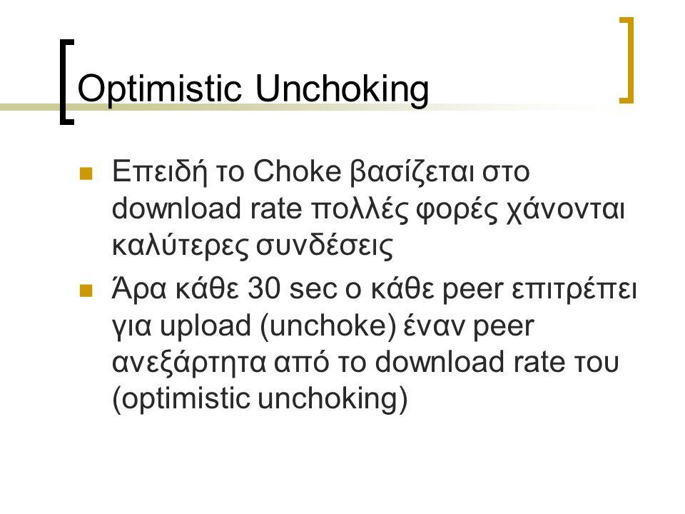 Optimistic Unchoking Επειδή το Choke βασίζεται στο download rate πολλές φορές χάνονται καλύτερες συνδέσεις Άρα κάθε 30 sec ο κάθε peer επιτρέπει για upload (unchoke) έναν peer ανεξάρτητα από το download rate του (optimistic unchoking)