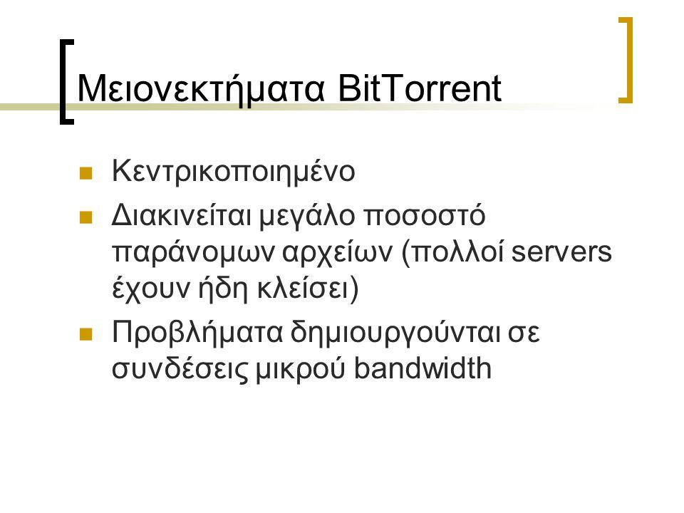 Μειονεκτήματα BitTorrent Kεντρικοποιημένο Διακινείται μεγάλο ποσοστό παράνομων αρχείων (πολλοί servers έχουν ήδη κλείσει) Προβλήματα δημιουργούνται σε συνδέσεις μικρού bandwidth