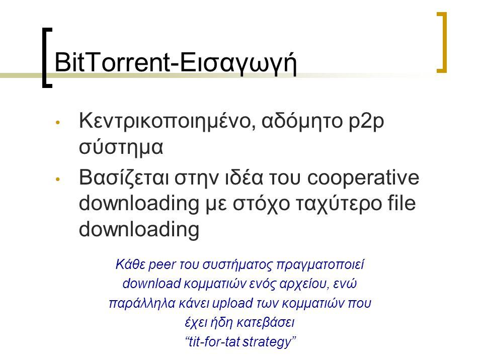 BitTorrent-Εισαγωγή Κεντρικοποιημένο, αδόμητο p2p σύστημα Βασίζεται στην ιδέα του cooperative downloading με στόχο ταχύτερο file downloading Κάθε peer