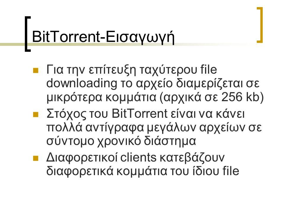 BitTorrent-Εισαγωγή Για την επίτευξη ταχύτερου file downloading το αρχείο διαμερίζεται σε μικρότερα κομμάτια (αρχικά σε 256 kb) Στόχος του BitTorrent