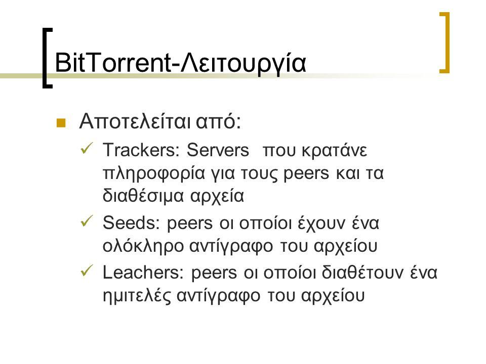 BitTorrent-Λειτουργία Αποτελείται από: Trackers: Servers που κρατάνε πληροφορία για τους peers και τα διαθέσιμα αρχεία Seeds: peers οι οποίοι έχουν έν