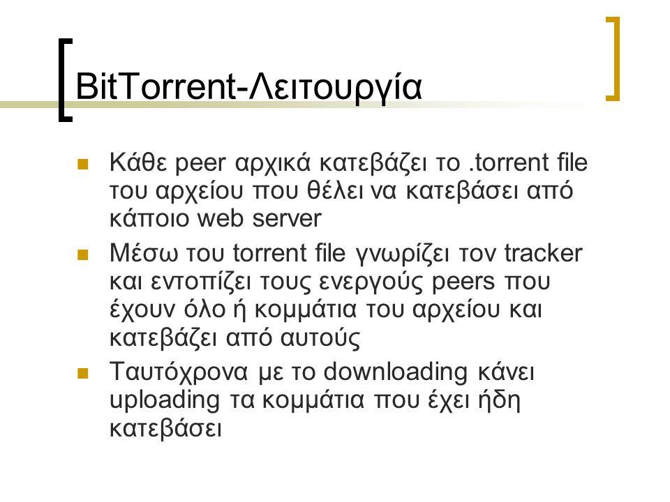 BitTorrent-Λειτουργία Κάθε peer αρχικά κατεβάζει το.torrent file του αρχείου που θέλει να κατεβάσει από κάποιο web server Μέσω του torrent file γνωρίζ