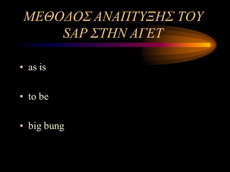 ΜΕΛΕΤΗ ΠΕΡΙΠΤΩΣΗΣ: ΑΓΕΤ ΗΡΑΚΛΗΣ Εγκατάσταση του SAP και λειτουργία του από 1/1/2000 σε όλα τα τμήματα της ΑΓΕΤ Λόγοι επιλογής του SAP: – δυναμικό και