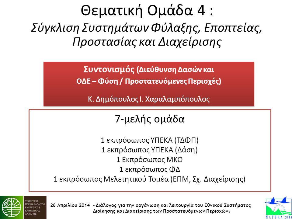28 Απριλίου 2014 «Διάλογος για την οργάνωση και λειτουργία του Εθνικού Συστήματος Διοίκησης και Διαχείρισης των Προστατευόμενων Περιοχών » Θεματική Ομ