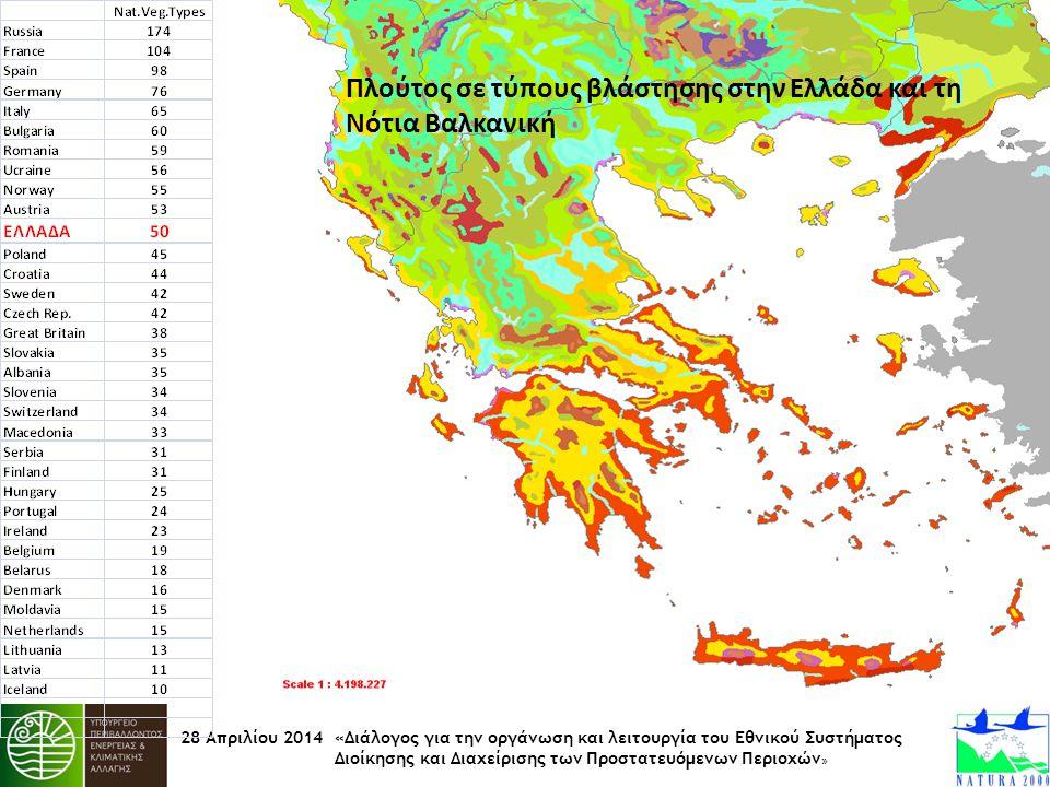 Πλούτος σε τύπους βλάστησης στην Ελλάδα και τη Νότια Βαλκανική