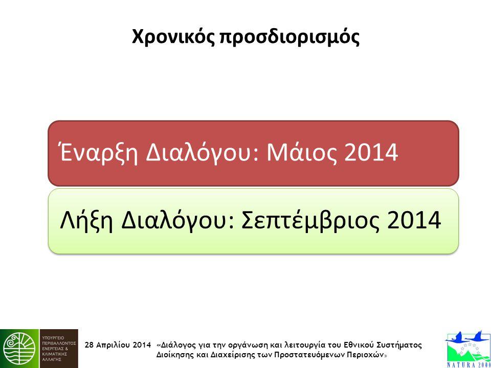 28 Απριλίου 2014 «Διάλογος για την οργάνωση και λειτουργία του Εθνικού Συστήματος Διοίκησης και Διαχείρισης των Προστατευόμενων Περιοχών » Χρονικός πρ