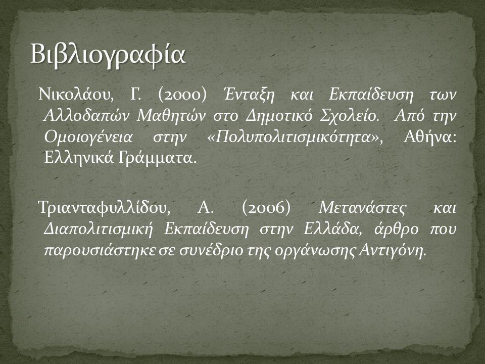 Νικολάου, Γ. (2000) Ένταξη και Εκπαίδευση των Αλλοδαπών Μαθητών στο Δημοτικό Σχολείο.