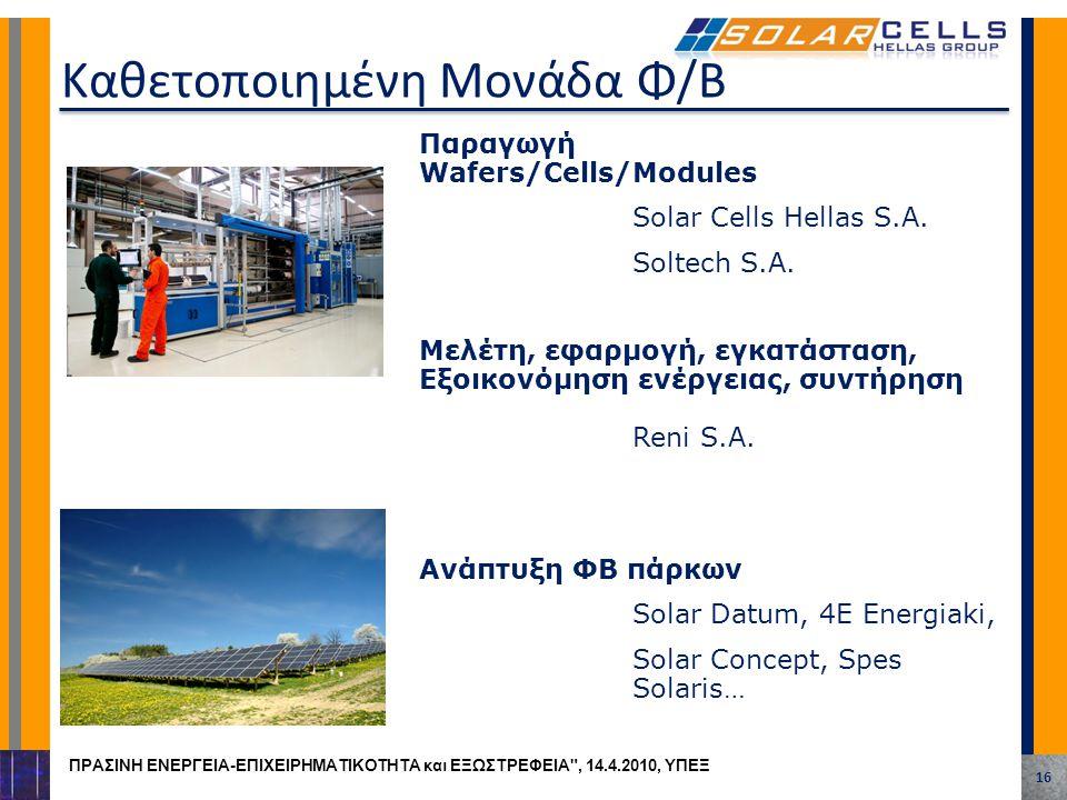 Παραγωγή Wafers/Cells/Modules Solar Cells Hellas S.A. Soltech S.A. Μελέτη, εφαρμογή, εγκατάσταση, Εξοικονόμηση ενέργειας, συντήρηση Reni S.A. Ανάπτυξη