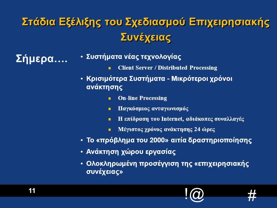 !@ # 12 Δίκτυα - Φωνής - Δεδομένων Κέντρο Πληροφορικής Επιχειρησιακές Μονάδες - Διαδικασίες - Υπολογ.