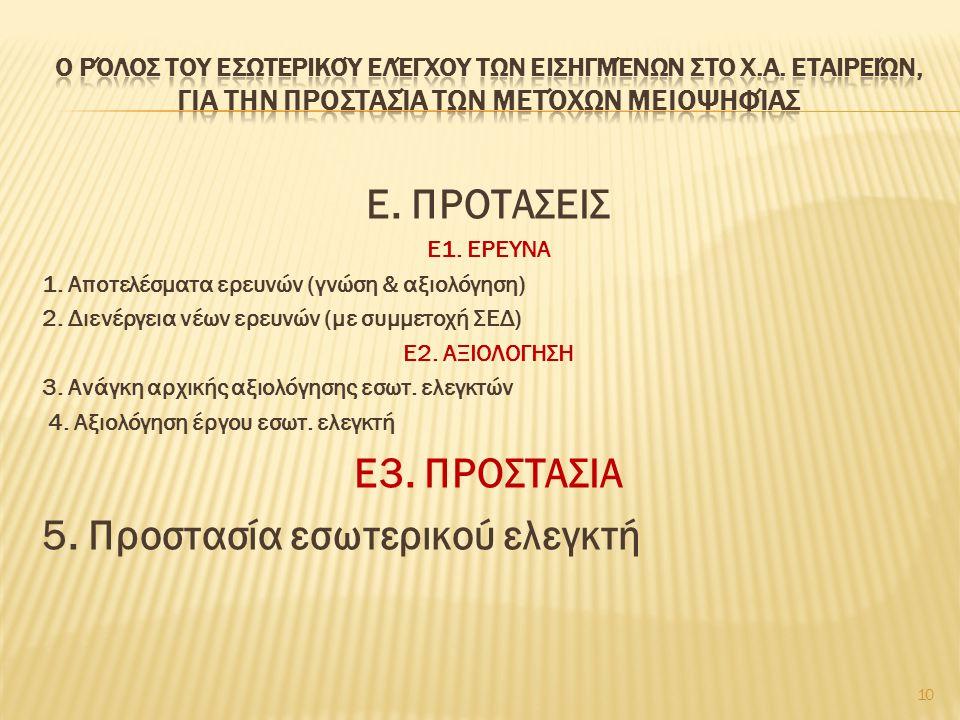 Ε. ΠΡΟΤΑΣΕΙΣ Ε1. ΕΡΕΥΝΑ 1. Αποτελέσματα ερευνών (γνώση & αξιολόγηση) 2. Διενέργεια νέων ερευνών (με συμμετοχή ΣΕΔ) Ε2. ΑΞΙΟΛΟΓΗΣΗ 3. Ανάγκη αρχικής αξ