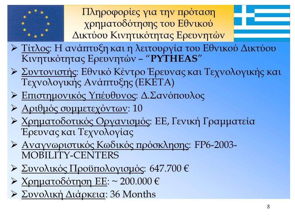 7 Δομή του Εθνικού Δικτύου Κινητικότητας Ερευνητών Ζώνη 1 ΕΚΕΤΑ, ΑΠΘ, ΣΒΒΕ Πόλη: Θεσσαλονίκη Ζώνη 2 Δημ.Παν.Θράκης Πόλη: Ξάνθη Ζώνη 3 Παν.Πάτρας Πόλη: