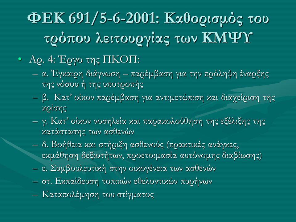 ΦΕΚ 691/5-6-2001: Καθορισμός του τρόπου λειτουργίας των ΚΜΨΥ Αρ. 4: Έργο της ΠΚΟΠ:Αρ. 4: Έργο της ΠΚΟΠ: –α. Έγκαιρη διάγνωση – παρέμβαση για την πρόλη