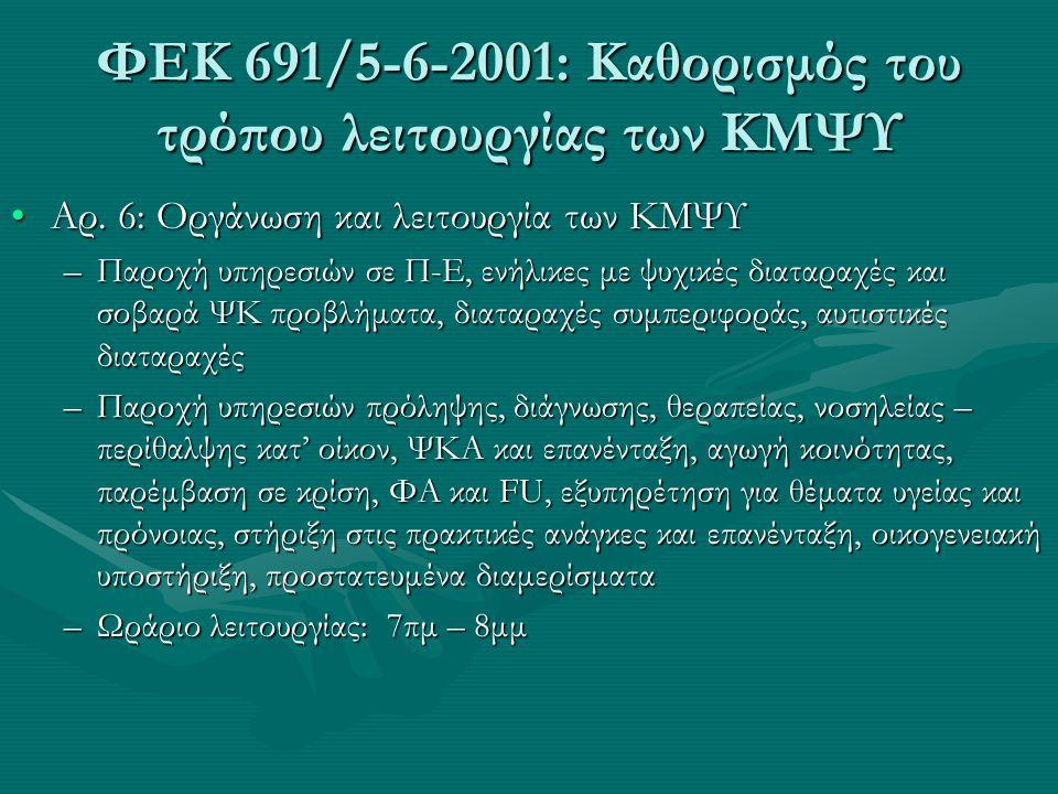 ΦΕΚ 691/5-6-2001: Καθορισμός του τρόπου λειτουργίας των ΚΜΨΥ Αρ. 6: Οργάνωση και λειτουργία των ΚΜΨΥΑρ. 6: Οργάνωση και λειτουργία των ΚΜΨΥ –Παροχή υπ