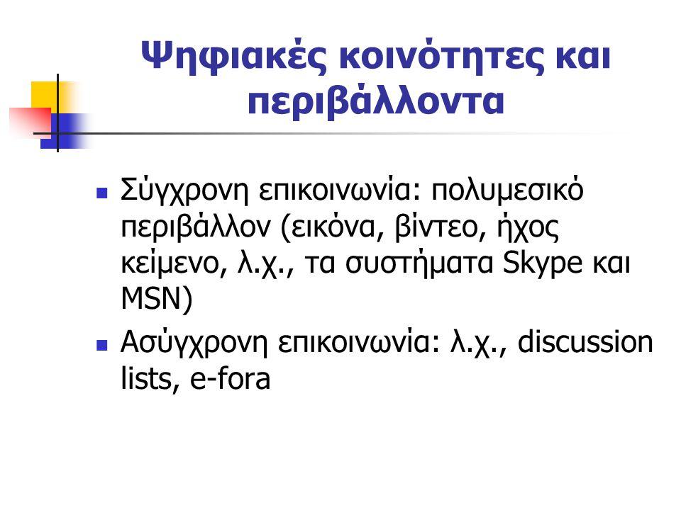 Ψηφιακές κοινότητες και περιβάλλοντα Σύγχρονη επικοινωνία: πολυμεσικό περιβάλλον (εικόνα, βίντεο, ήχος κείμενο, λ.χ., τα συστήματα Skype και MSN) Ασύγχρονη επικοινωνία: λ.χ., discussion lists, e-fora
