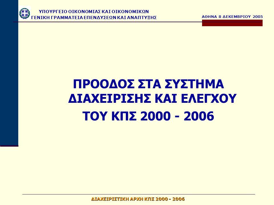 ΑΘΗΝΑ 8 ΔΕΚΕΜΒΡΙΟΥ 2005 ΥΠΟΥΡΓΕΙΟ ΟΙΚΟΝΟΜΙΑΣ ΚΑΙ ΟΙΚΟΝΟΜΙΚΩΝ ΓΕΝΙΚΗ ΓΡΑΜΜΑΤΕΙΑ ΕΠΕΝΔΥΣΕΩΝ ΚΑΙ ΑΝΑΠΤΥΞΗΣ ΔΙΑΧΕΙΡΙΣΤΙΚΗ ΑΡΧΗ ΚΠΣ 2000 - 2006 Έκδοση θετικής αξιολόγησης της Επιτροπής που αφορά την ικανοποίηση των κανονιστικών απαιτήσεων για τα συστήματα διαχείρισης και ελέγχου του ΕΤΠΑ (έγγραφο με α.π.