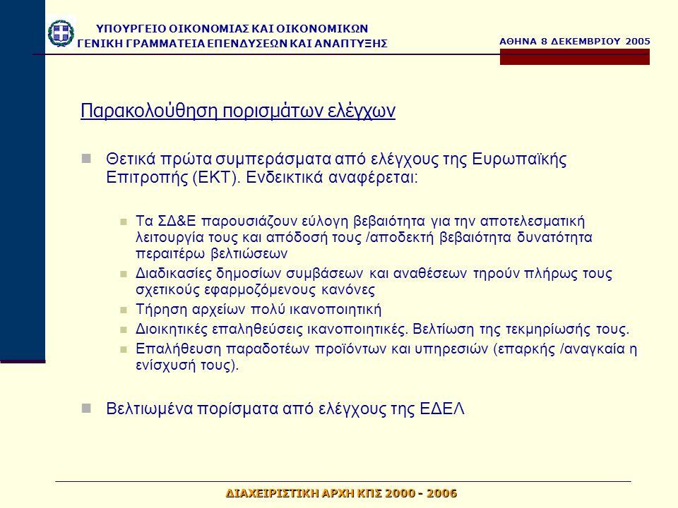 ΑΘΗΝΑ 8 ΔΕΚΕΜΒΡΙΟΥ 2005 ΥΠΟΥΡΓΕΙΟ ΟΙΚΟΝΟΜΙΑΣ ΚΑΙ ΟΙΚΟΝΟΜΙΚΩΝ ΓΕΝΙΚΗ ΓΡΑΜΜΑΤΕΙΑ ΕΠΕΝΔΥΣΕΩΝ ΚΑΙ ΑΝΑΠΤΥΞΗΣ ΔΙΑΧΕΙΡΙΣΤΙΚΗ ΑΡΧΗ ΚΠΣ 2000 - 2006 Περιορισμός σημαντικότητας ευρημάτων στις εκθέσεις ελέγχου ΕΔΕΛ Θέματα έγκαιρης υποβολής τριμηνιαίων, μηνιαίων δελτίων και έγκαιρης καταχώρησής τους Ενίσχυση διαδικασιών δημοσιότητας Έγκαιρη τροποποίηση των αποφάσεων ένταξης, όπου απαιτείται Ενημέρωση τελικών δικαιούχων για την τήρηση των υποχρεώσεών τους Ενίσχυση επιτόπιων ελέγχων που ασκούν οι Διαχειριστικές Αρχές Παρακολούθηση ευρημάτων ελέγχων Εντατικοποίηση των ελέγχων που ασκούν οι τελικοί δικαιούχοι στους φορείς επίβλεψης και τελικούς αποδέκτες στις περιπτώσεις ενισχύσεων