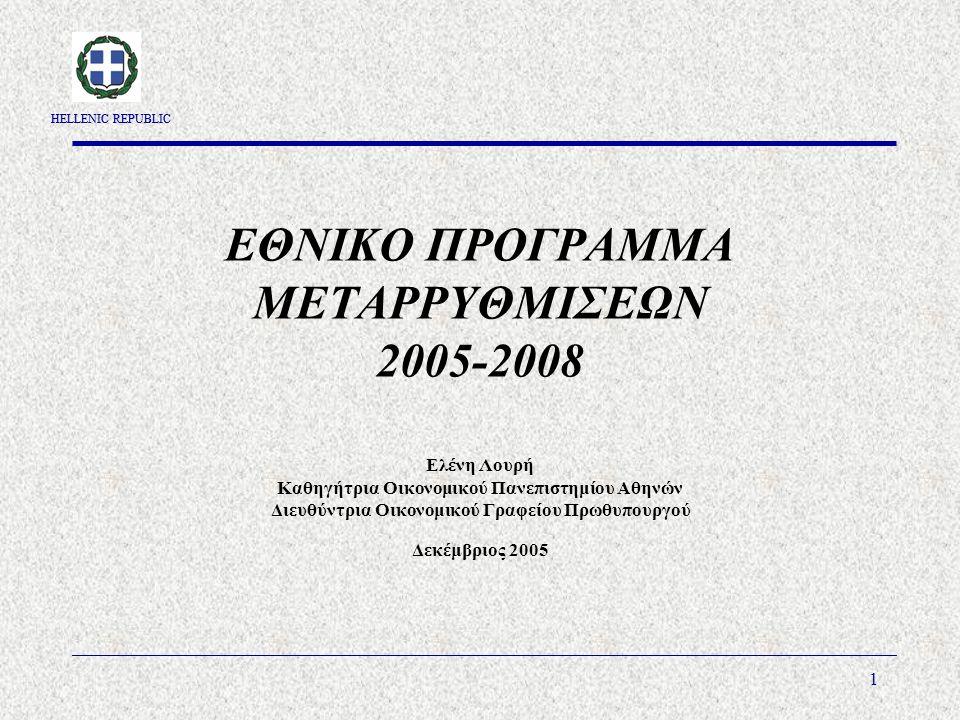 HELLENIC REPUBLIC 1 ΕΘΝΙΚΟ ΠΡΟΓΡΑΜΜΑ ΜΕΤΑΡΡΥΘΜΙΣΕΩΝ 2005-2008 Ελένη Λουρή Καθηγήτρια Οικονομικού Πανεπιστημίου Αθηνών Διευθύντρια Οικονομικού Γραφείου Πρωθυπουργού Δεκέμβριος 2005