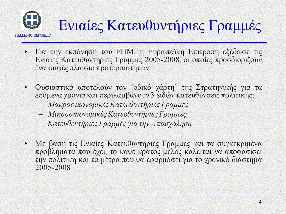 HELLENIC REPUBLIC 4 Ενιαίες Κατευθυντήριες Γραμμές Για την εκπόνηση του ΕΠΜ, η Ευρωπαϊκή Επιτροπή εξέδωσε τις Ενιαίες Κατευθυντήριες Γραμμές 2005-2008, οι οποίες προσδιορίζουν ένα σαφές πλαίσιο προτεραιοτήτων.