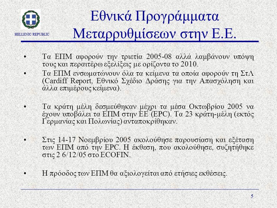 HELLENIC REPUBLIC 5 Εθνικά Προγράμματα Μεταρρυθμίσεων στην Ε.Ε.