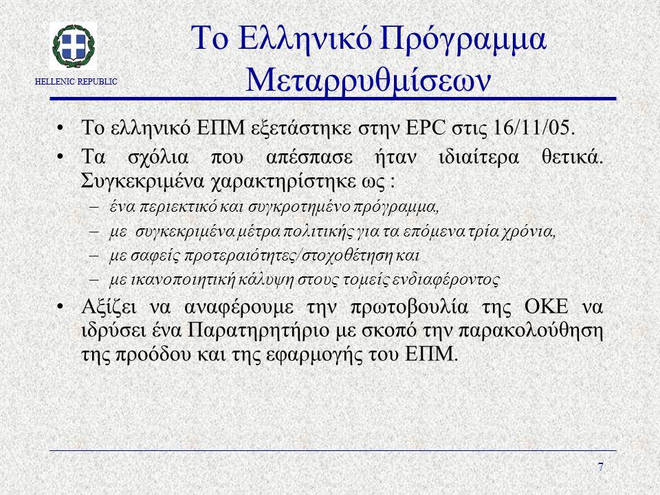 HELLENIC REPUBLIC 7 Το Ελληνικό Πρόγραμμα Μεταρρυθμίσεων Το ελληνικό ΕΠΜ εξετάστηκε στην EPC στις 16/11/05.