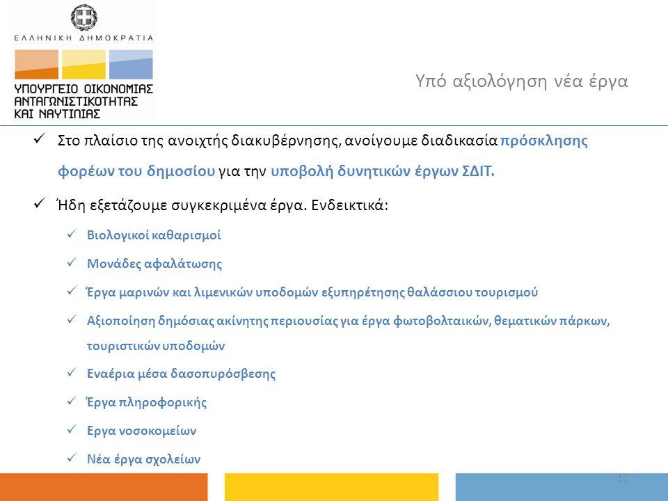 16 Υπό αξιολόγηση νέα έργα Στο πλαίσιο της ανοιχτής διακυβέρνησης, ανοίγουμε διαδικασία πρόσκλησης φορέων του δημοσίου για την υποβολή δυνητικών έργων