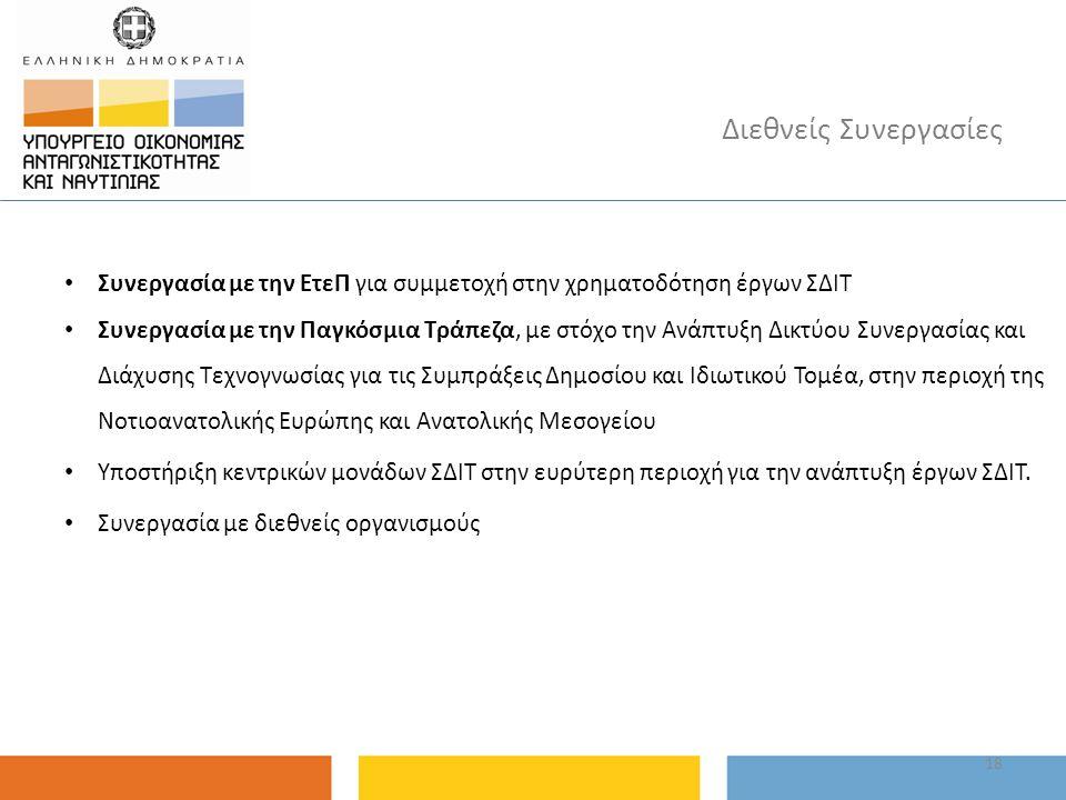 Συνεργασία με την ΕτεΠ για συμμετοχή στην χρηματοδότηση έργων ΣΔΙΤ Συνεργασία με την Παγκόσμια Τράπεζα, με στόχο την Ανάπτυξη Δικτύου Συνεργασίας και Διάχυσης Τεχνογνωσίας για τις Συμπράξεις Δημοσίου και Ιδιωτικού Τομέα, στην περιοχή της Νοτιοανατολικής Ευρώπης και Ανατολικής Μεσογείου Υποστήριξη κεντρικών μονάδων ΣΔΙΤ στην ευρύτερη περιοχή για την ανάπτυξη έργων ΣΔΙΤ.