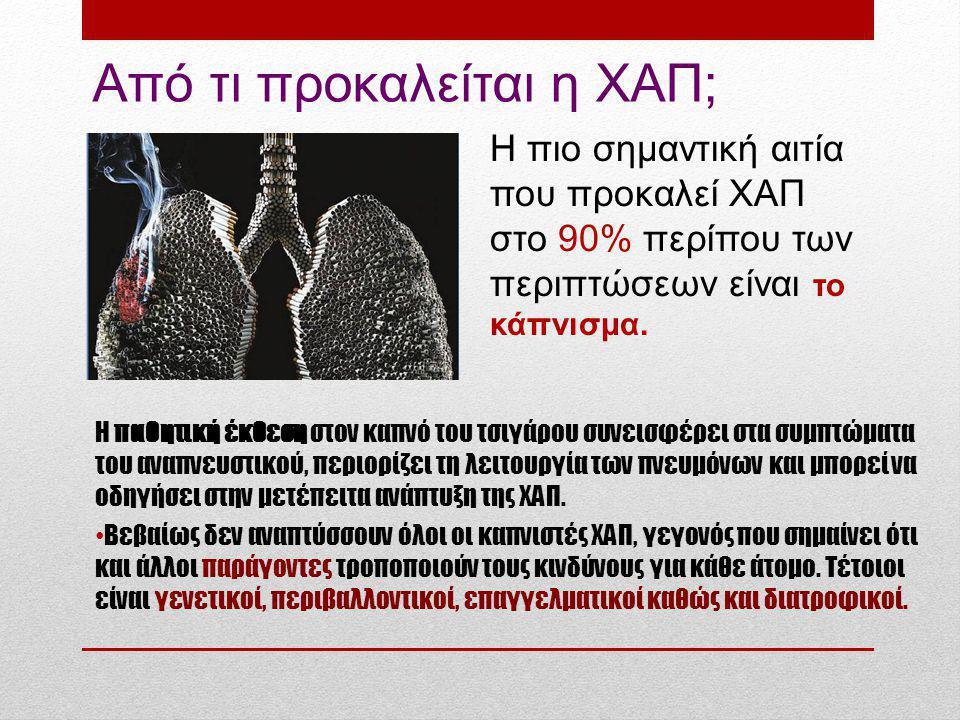Από τι προκαλείται η ΧΑΠ; Η πιο σημαντική αιτία που προκαλεί ΧΑΠ στο 90% περίπου των περιπτώσεων είναι το κάπνισμα.