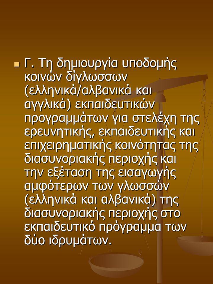 Γ. Τη δημιουργία υποδομής κοινών δίγλωσσων (ελληνικά/αλβανικά και αγγλικά) εκπαιδευτικών προγραμμάτων για στελέχη της ερευνητικής, εκπαιδευτικής και ε