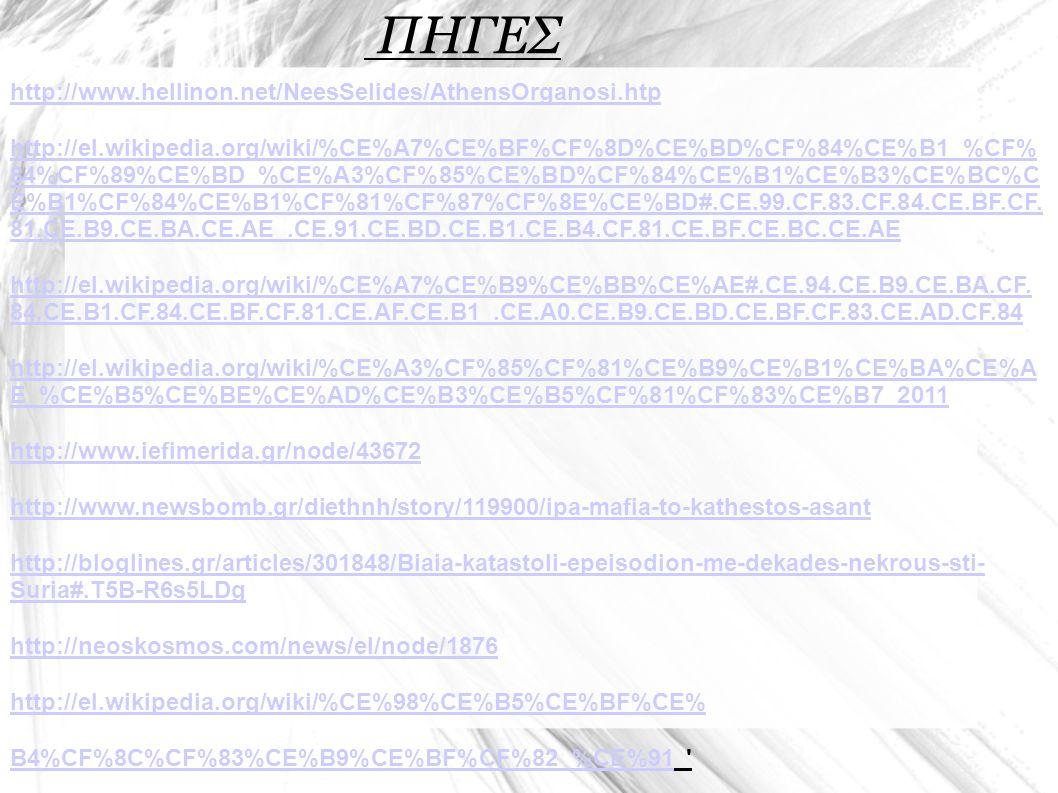 ΠΗΓΕΣ http://www.hellinon.net/NeesSelides/AthensOrganosi.htp http://el.wikipedia.org/wiki/%CE%A7%CE%BF%CF%8D%CE%BD%CF%84%CE%B1_%CF% 84%CF%89%CE%BD_%CE